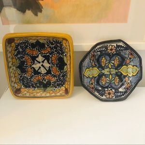 2 vintage handmade Mexican talavera pottery dishes
